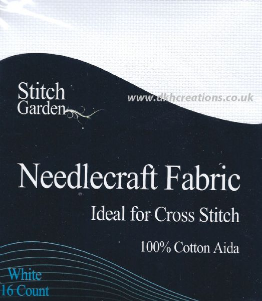 Stitch Garden White 16 Count Aida Fabric